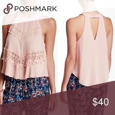 ASTR Pink Blush Crochet High Neck Tank Sleeveless Halter Neck Tank with back cutout detail, buttons closure and beautiful crochet trim design. Dusty Rose/ Blush Color. Listed as free people for views! Brand is ASTR from Nordstrom.  As seen on Jaclyn Hill! Free People Tops Blouses