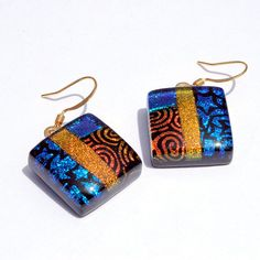 Dichroic Earrings Fused Glass Jewelry Square 22K by IntoTheLight, $18.00