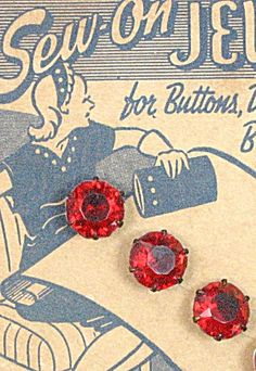 Vintage Ruby Jeweled Button Sewing Card (Antique Vintage Sewing Notions Implements) at Decotique❤ ❤ ❤