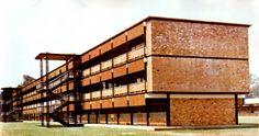Edificio principal de las Aulas de la Escuela Normal de Ciudad Guzmán, Calz Madero y Carranza, Ciudad Guzmán, Jalisco, México 1960   Arq. Salvador de Alba -  Main classroom building for the Normal School, Ciudad Guzman, Jalisco, Mexico 1960