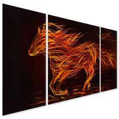 """Horse Metal Wall Art Decor - Modern Fire Stallion Abstract Decorative Sculpture Set of 3 Panels Perfect for Kitchen or Living Room - 50"""" x 24"""" Pure Art http://www.amazon.com/dp/B00G4EQUNM/ref=cm_sw_r_pi_dp_B-Iexb1Z1V2K2"""