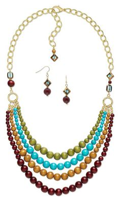 Multi-Strand Necklace and Earring Set with Wood Beads and Copper-Plated Glass Beads - Fire Mountain Gems and Beads