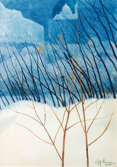 A snowy dreamlandscape, Léon Spilliaert. Belgian (1881 - 1946)