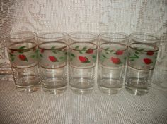 Vintage 50's drinking glasses set of 5 rose bud by FabulousFinds1, $24.95