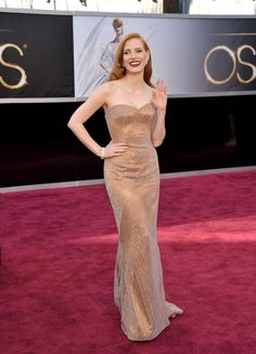 Actress Jessica Chastain arrives at the 85th Academy Awards at the Dolby Theatre on Sunday Feb. 24, 2013, in Los Angeles.