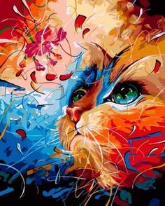 diy oil painting paint by number kit for adult kids christmas gift Dyed cat