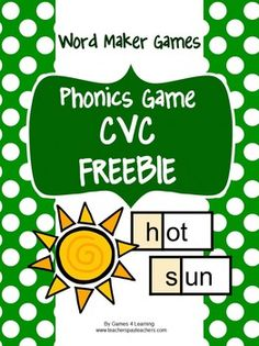 Cute CVC Board Game FREEBIE from Games 4 Learning