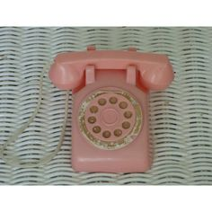 1950's Pink Plastic Play Phone ($12) ❤ liked on Polyvore featuring accessories and tech accessories