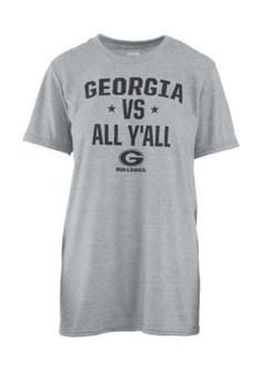 Royce Girls' Georgia Bulldogs Vs Yall Short Sleeve Tee - Gray - Xl