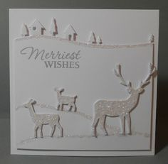52 {Christmas} Card Throwdown: Top Honor and Honorable Mentions.  Nice monochromatic Winter Scene.  Need to look into the Memory Box deer dies.