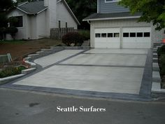 So you have an existing concrete patio or driveway, that is in good shape, but it just too small to meet your current needs? Often times it can make sense dollar-wise to have some new concrete poured to achieve. Cement Driveway, Stamped Concrete Driveway, Driveway Border, Driveway Design, Concrete Driveways, Driveway Landscaping, Concrete Patio, Driveway Ideas, Walkways