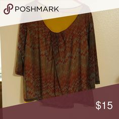 3/4 Sleeve Blouse Worn once, didn't like the colors with my skin tone. Jennifer Lopez Tops Blouses