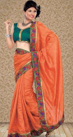 $58.38 Orange Resham Work Jacquard Saree 22757