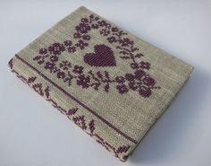 Cross Stitch A6 Journal & Cover - Purple Floral Heart | Felt