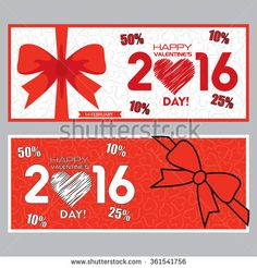 Valentine Day Sales Banners Set 1 - stock vector