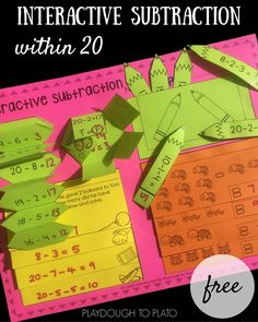 A FREE interactive notebook activity for subtraction within 20. An engaging subtraction activity for kids!