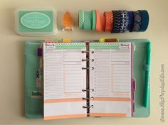 Day Per Page layout in Personal sized organiser done in Mint / Sage Green & Coral / Salmon Orange. #Filofax design by MyPurpleyLife