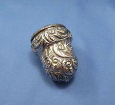 Antique Sewing Case Etui Thimble Needles Pins Acorn Shape Chatelaine Ring