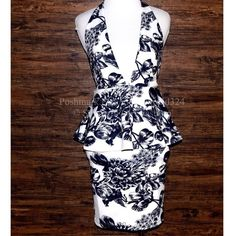 HALTER DRESS Floral Printed Bodycon Open Back Mini Size XS. New with tags.  $78 Retail + Tax.  Stretchy peplum dress with floral print, plunging v-neckline and halter tie neck closure.  Fully lined with exposed back zip closure.  Unlined.   Polyester. Imported; LionessOfficial.      ❗️ No trades, holds or modeling requests.    Bundle 3+ items for a 20% discount!   ✔️ Items are priced to sell, however reasonable offers will be considered when submitted using the offer button Southern Girl…