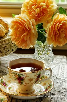 I think I'll have a cuppa' and enjoy my tea and the scent of my beautiful apricot roses. I think I'll have a cuppa' and enjoy my tea and the scent of my beautiful apricot roses. Vintage China, Vintage Tea, Coffee Time, Tea Time, Autumn Tea, Cuppa Tea, My Cup Of Tea, Mini Desserts, High Tea