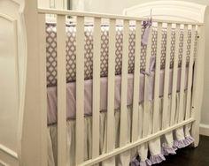 Lavender & cream crib set