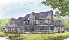 Farmhouse House Plan ID: chp-27859 - COOLhouseplans.com  I don't need this many bedrooms, but I love the first floor, the garage, and the porch.  Keeping to see if builder can nix two of the upstairs bedrooms.