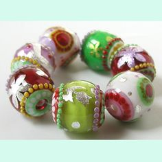 Fresh Cut 7 fancifully foiled beads lampwork by Sarah by zbeads