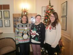 The reception team in their festive jumpers!