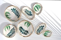 Handmade Ceramics by LiquoriceMoonStudios - These would make FANTASTIC jewelry display plates…Hand Painted Gold Rimmed Stoneware Dishes Pottery Painting Designs, Pottery Designs, Pottery Ideas, Diy Clay, Clay Crafts, Ceramic Painting, Ceramic Art, Ceramic Bowls, Ceramic Mugs