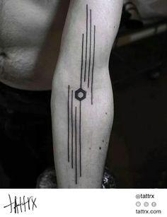 Okan Uçkun Tattoo - Inner Elbow Hexagon with Lines   tattrx