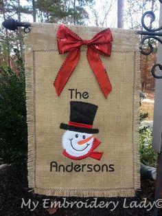 Christmas Garden Flag with Bow, Monogrammed, Burlap, Embroidered, Applique, Door Hanger