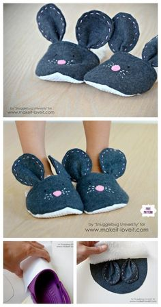 DIY Mouse Slippers Free Sew Pattern & Tutorial The Effective Pictures We Offer You About Sewing Patt Easy Sewing Projects, Sewing Projects For Beginners, Sewing Tutorials, Sewing Crafts, Sewing Tips, Sewing Slippers, Kids Slippers, Sewing For Kids, Baby Sewing