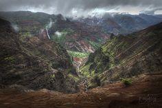 Down Stream in Waimea is a landscape photography print of Waipoo Falls and Kokee Stream in Waimea Canyon in Kauai.