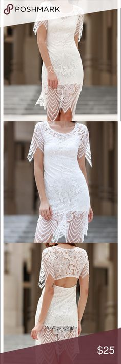 Women's Beautiful White Lace Dress Style: Lace, midi Material: Lace,Polyester Silhouette: Asymmetrical Dresses Length: Mid-Calf Neckline: Round Collar Sleeve Length: Half Sleeves Pattern Type: Solid With Belt: No Weight: 0.176kg Package Contents: 1 x Dress Dresses Wedding