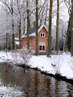 Brick Cottage with Stream and Snow   Content in a Cottage     I would love to live in such a cozy cottage. Sigh