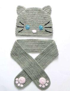 Bufanda de crochet y gorro a juego para niños - Fuente: Pinterest