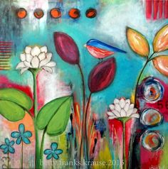 "30x30 canvas - ""the other side"" acrylics, glazes, pencils, mixed media, bird, flowers"