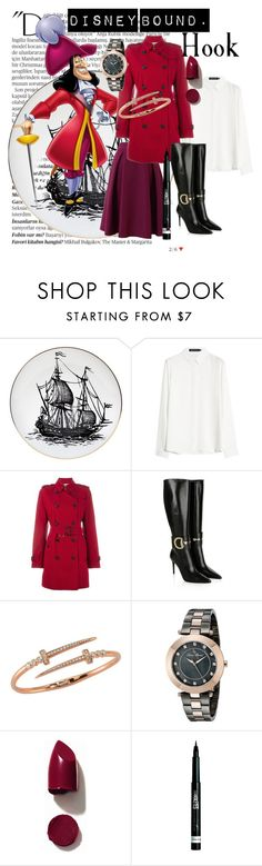 """""""Hook - Disney"""" by jess-brass on Polyvore featuring Balmain, Rory Dobner, Burberry, Gucci, Bee Goddess, Lucien Piccard, NARS Cosmetics, Rimmel, disney and disneybound"""