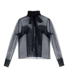ShopBazaar Rochas Black Sheer Lace Blouse MAIN