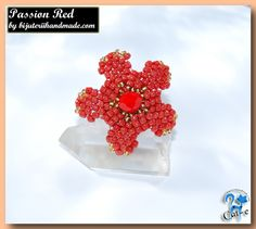Shop for on Etsy, the place to express your creativity through the buying and selling of handmade and vintage goods. Beaded Flowers, Red Flowers, Beaded Rings, Crochet Earrings, Handmade Jewelry, Passion, Free Shipping, Create, Etsy