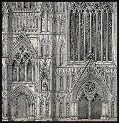 Architectural Drawings York Minster England and Piazza del Duomo Italy Cathedrals Engraving Print 1881