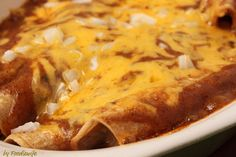 Cheese and onion enchiladas with tex-mex chili gravy. To salty, use less salt next time