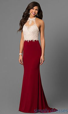 Shop open-back long prom dresses at Simply Dresses. Designer halter dresses under $200 with sheer-illusion high-necklines and embroidered lace.