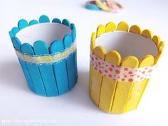 Colorful Easter Basket craft made using wood sticks and cardboard tube. Recycled… Colorful Easter Basket craft made using wood sticks and cardboard tube. Super quick and easy Easter craft for preschoolers and kindergarten. Kids Crafts, Easy Easter Crafts, Creative Crafts, Preschool Crafts, Crafts To Make, Popsicle Stick Crafts, Craft Stick Crafts, Wood Crafts, Wood Sticks Crafts