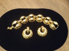 Vtg Kenneth Jay Lane Goldtone Chunky Chain Link Bracelet & Earring Set Signed #KennethJayLane #Chain