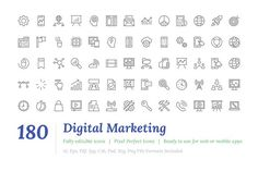 180 Digital Marketing Line Icons  by Vectors Market on @creativemarket