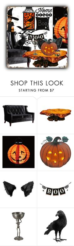"""HALLOWEEN PARTY!"" by crochetragrug ❤ liked on Polyvore featuring interior, interiors, interior design, home, home decor, interior decorating, Armen Living and Pottery Barn"