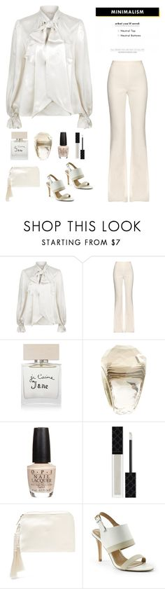 """minimalism in neutral"" by im-karla-with-a-k ❤ liked on Polyvore featuring Giambattista Valli, Bella Freud, Swarovski, OPI, Gucci, The Row and Lands' End"