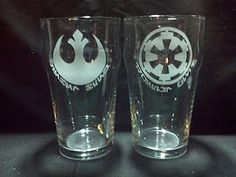 A set of Rebel and Imperial pub glasses that I made for myself a while back, great for having a get together and a few drinks while watching the Holy Trilogy.