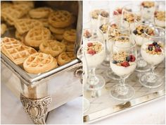 Waffles and parfaits! At a wedding! a breakfast reception! this is a genius catering idea! I love to eat breakfast at non-breakfast times.